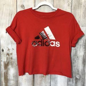 Adidas Red Custom Cut Crop Top Distressed Sz XL Jr